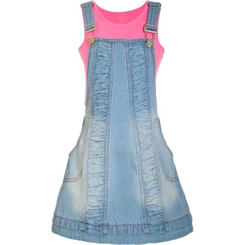 Naughty Ninos Dungaree For Girls Solid Cotton Blend(Light Blue, Pack of 1)