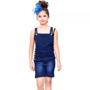 fnocks Dungaree For Girls Casual Solid Denim(Dark Blue, Pack of 1)