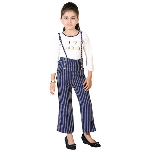AD & AV Dungaree For Girls Casual Striped Polycotton(White, Pack of 1)