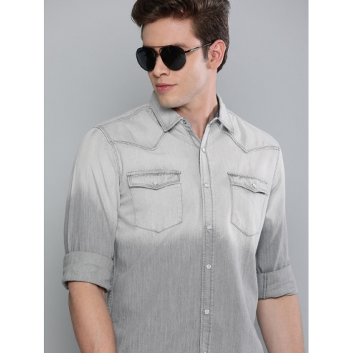 The Humbl Co. Men Grey Slim Fit Faded Casual Denim Shirt