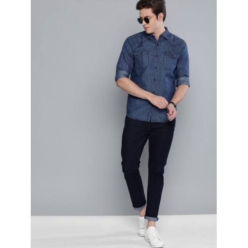 The Humbl Co.  Blue Slim Fit Solid  Casual Denim Shirt