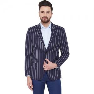 Canary London Striped Single Breasted Casual Men Blazer(Dark Blue)