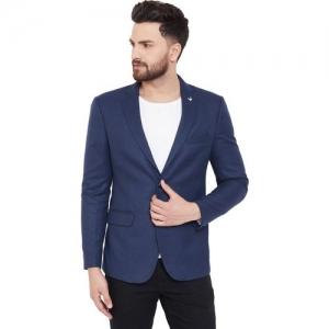 Canary London Solid Single Breasted Casual Men Blazer(Dark Blue)