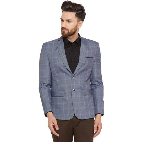 Canary London Checkered Single Breasted Casual Men Blazer(Grey)