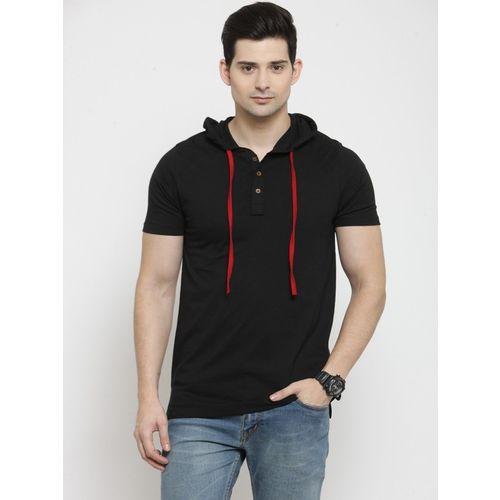 Kalt Self Design Men Hooded Neck Black T-Shirt