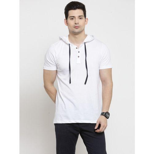 Kalt Solid Men Hooded Neck White T-Shirt