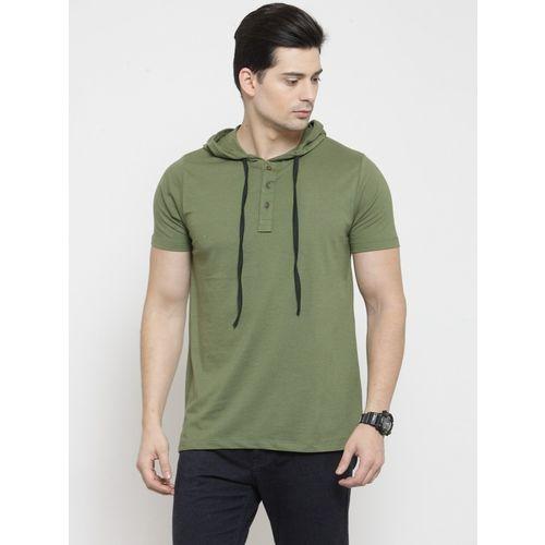 Kalt Self Design Men Hooded Neck Green T-Shirt