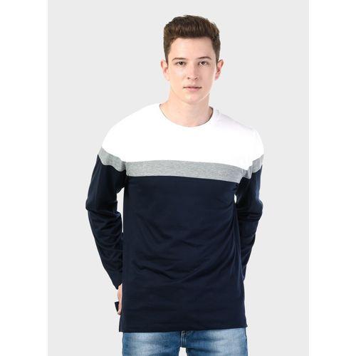 Kalt Striped Men Round Neck Dark Blue, Grey T-Shirt