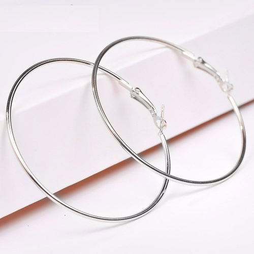 Unknown DOT9TI9  Alloy Silver Fashion Smooth Big Large Round Hoop Earrings