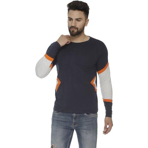 Veirdo Solid Men Round Neck Dark Blue T-Shirt
