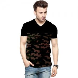 Veirdo Printed Men V Neck Black T-Shirt