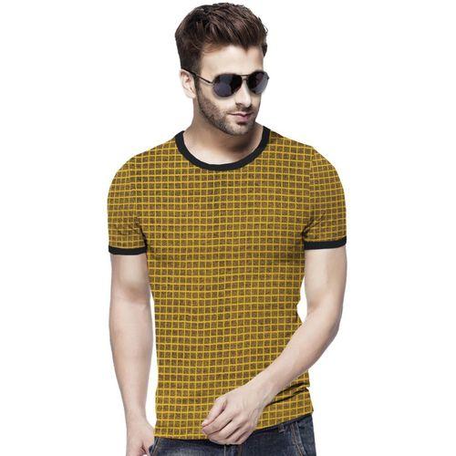 Tripr Checkered Men Round Neck Yellow T-Shirt