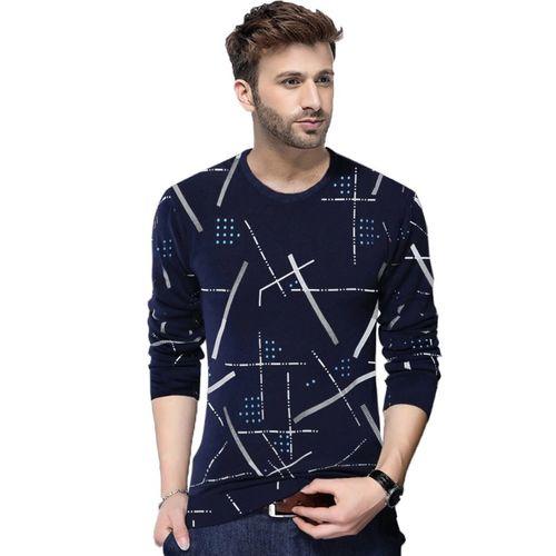 Tripr Printed Men Round Neck Dark Blue T-Shirt