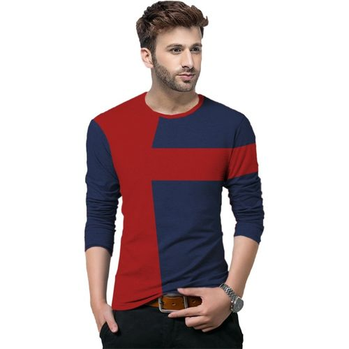 Tripr Color Block Men Round Neck Dark Blue, Red T-Shirt