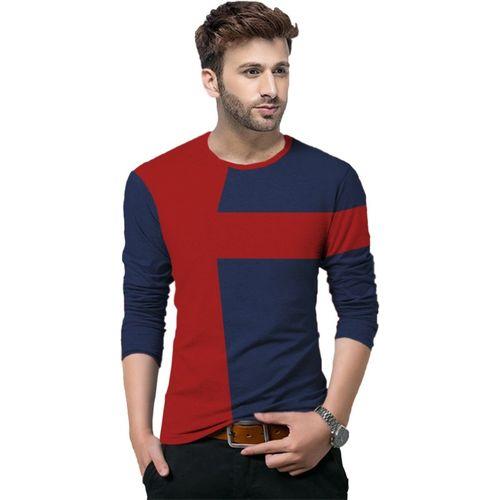 Tripr Color Block Men Round Neck Dark Blue, Red T-Shirt