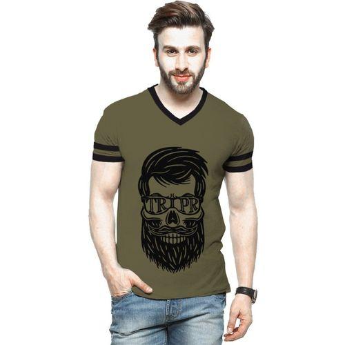 Tripr Printed Men V Neck Green T-Shirt