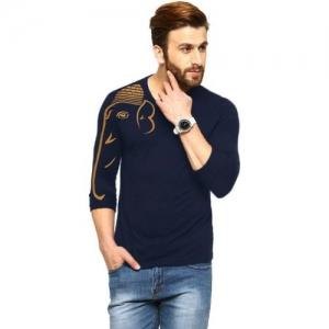 Tripr Printed Men V Neck Dark Blue T-Shirt