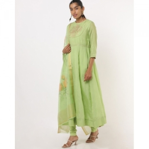 Biba green cotton Anarkali Kurta