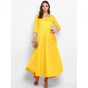 MBE yellow cotton blend Solid Anarkali Kurta