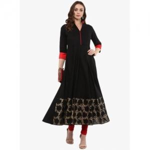 MBE Black cotton blend Block Print Anarkali Kurta