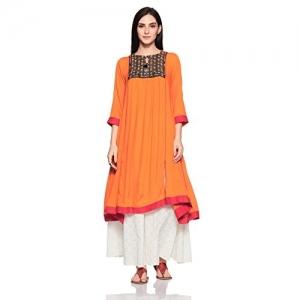 Rangriti saffron cotton Anarkali Kurta