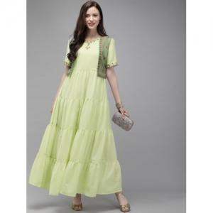 Anouk Green polyester Embellished Fusion Anarkali Kurta