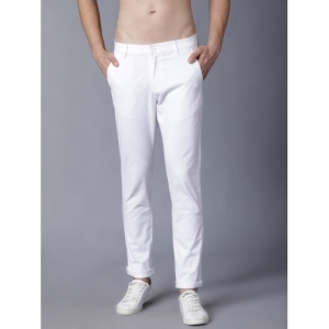 Highlander White Cotton Slim Fit Trousers