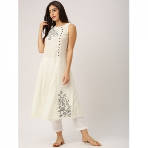 All About You White polycotton Solid A-line Kurta