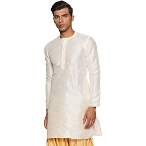 Manyavar white Full Sleeve Mid-Thigh Blended Kurta