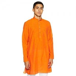 Manyavar orange Knee Long Cotton Kurta