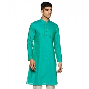 Manyavar blue Blended Full Sleeve Kurta