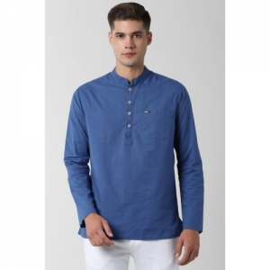 Peter England Blue pure cotton Solid Straight Kurta