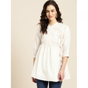 Sangria Women Off-White Self Design Angrakha A-Line Kurti