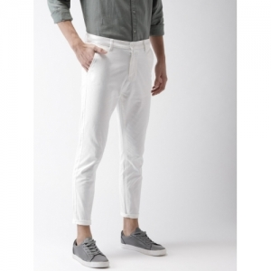 HIGHLANDER White Cotton Solid Tapered Fit Chinos
