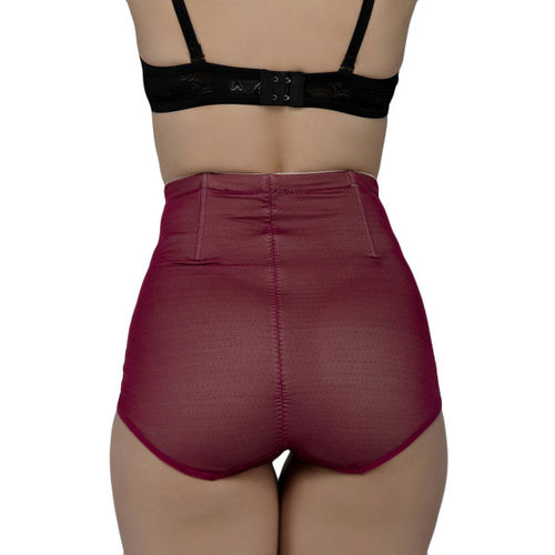 Laceandme Women Maroon & Pink Self Design Lace Tummy Tucker