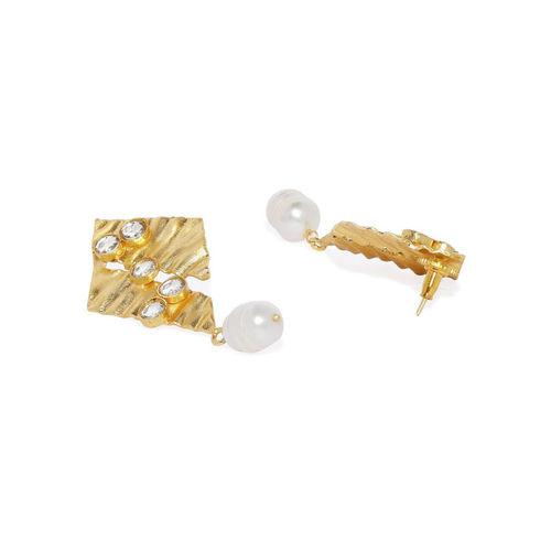 Pipa Bella Off-White & Gold-Plated Geometric Kundan Studded Drop Earrings