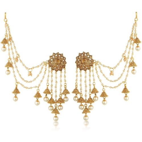 Sukkhi Sukkhi Bahubali Pearl Jhumka Earring With Ear Chainforwomen Pearl Alloy Jhumki Earring