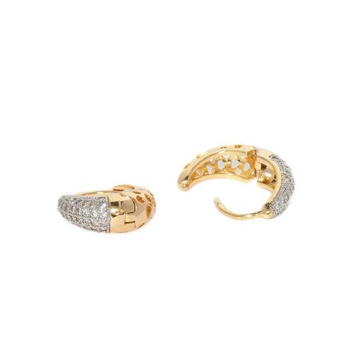 Sukkhi Women Gold-Plated & Silver-Toned Circular Hoop Earrings