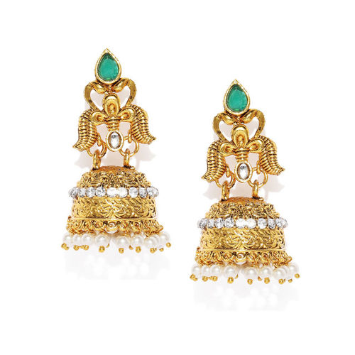 Sukkhi Green & Gold-Plated Dome Shaped Jhumkas