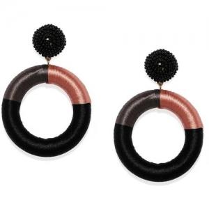 ToniQ Black & Rust Thread Circular Drop Earring for Women Alloy Drops & Danglers