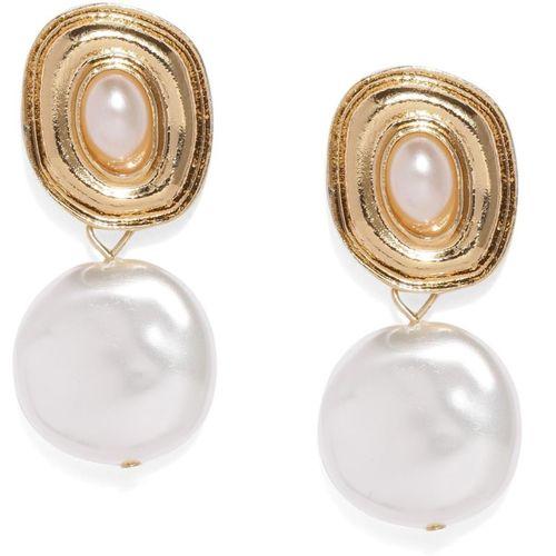 ToniQ ToniQ Gold-Toned & White Geometric Drop Earrings Alloy Drops & Danglers