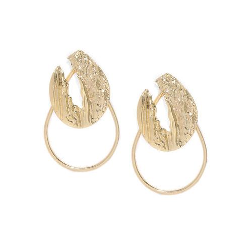 ToniQ Gold-Toned Contemporary Drop Earrings