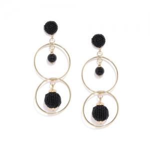 ToniQ Gold-Toned & Black Circular Drop Earrings