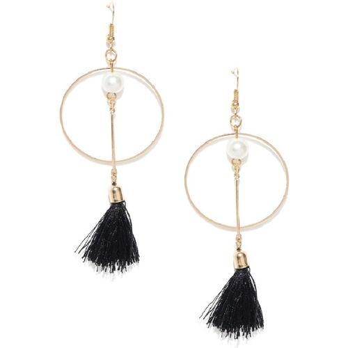 OOMPH Black Tassel With Pearl Pearl Alloy Tassel Earring