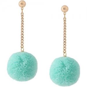 OOMPH Light Blue Pom Pom Beads Alloy Drops & Danglers