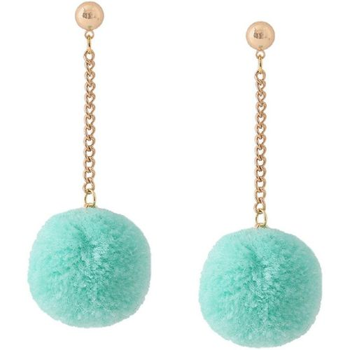 OOMPH Light Blue Pom Pom Beads Alloy Drops & Danglers