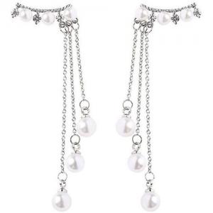 OOMPH Delicate White Pearl Tassel Pearl Brass Drops & Danglers