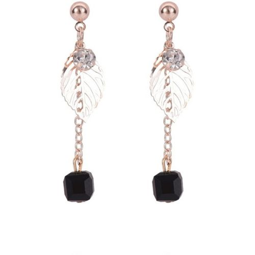 OOMPH Black Beads & Crystal Delicate Crystal Alloy Drops & Danglers