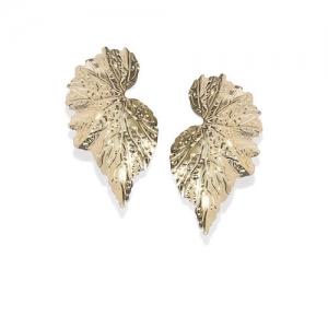 OOMPH Gold-Toned Leaf Shaped Drop Earrings