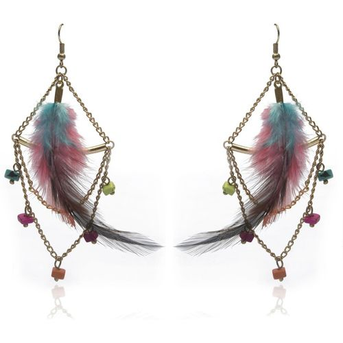 Blueberry Colorful Feather Glass, Metal Drops & Danglers